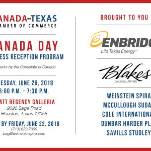 Canada Day Business Reception – June 26 in Houston