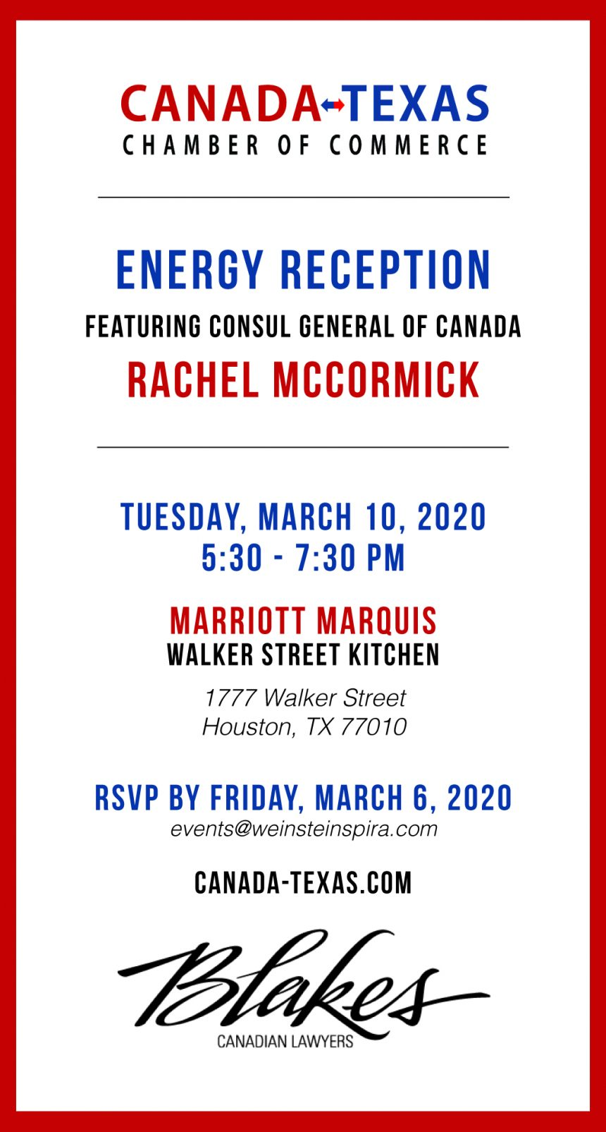 Energy Reception featuring Consul General of Canada – Rachel McCormick